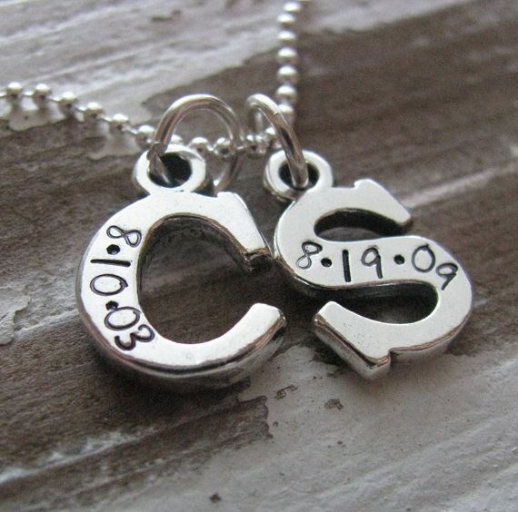 custom sterling silver initial necklace - personalize with your initials & dates