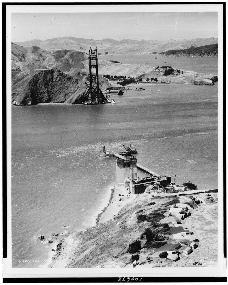 Golden Gate Bridge under construction San Francisco California 1934. [3279x4096]