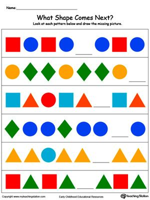 **FREE** What Colorful Shape Comes Next? Worksheet.Your child will learn to recognize and complete patterns by identifying next picture, color, size and shape in this printable worksheet.