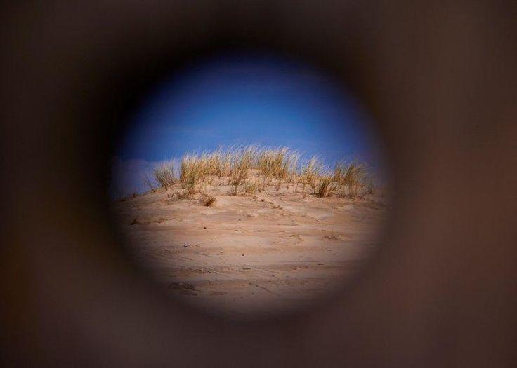 through a peephole