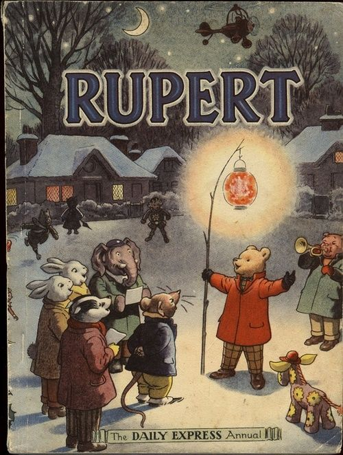 Rupert Bear. My sisters and I used to get The Rupert Bear Annual, every year for Christmas.. When I was growing up in England... Still have them, shared with my children... Now grandchildren!!