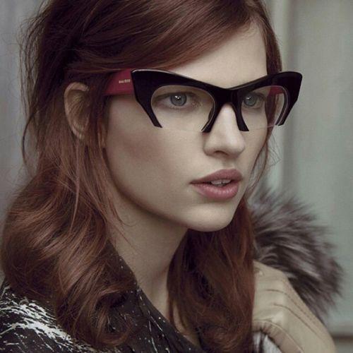 Fashion Cut Off Rasoir Miu Style Cat Eye Glasses Clear Lenses Women Sunglasses