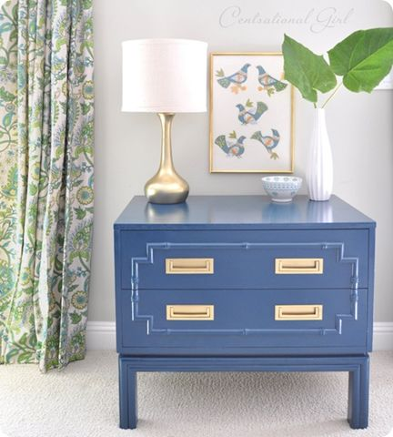 Campaign End Table With Bamboo Design, Pretty Blue Color