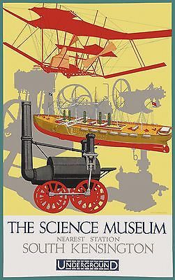 The Science Museum by London Underground 1928 vintage travel poster reprint