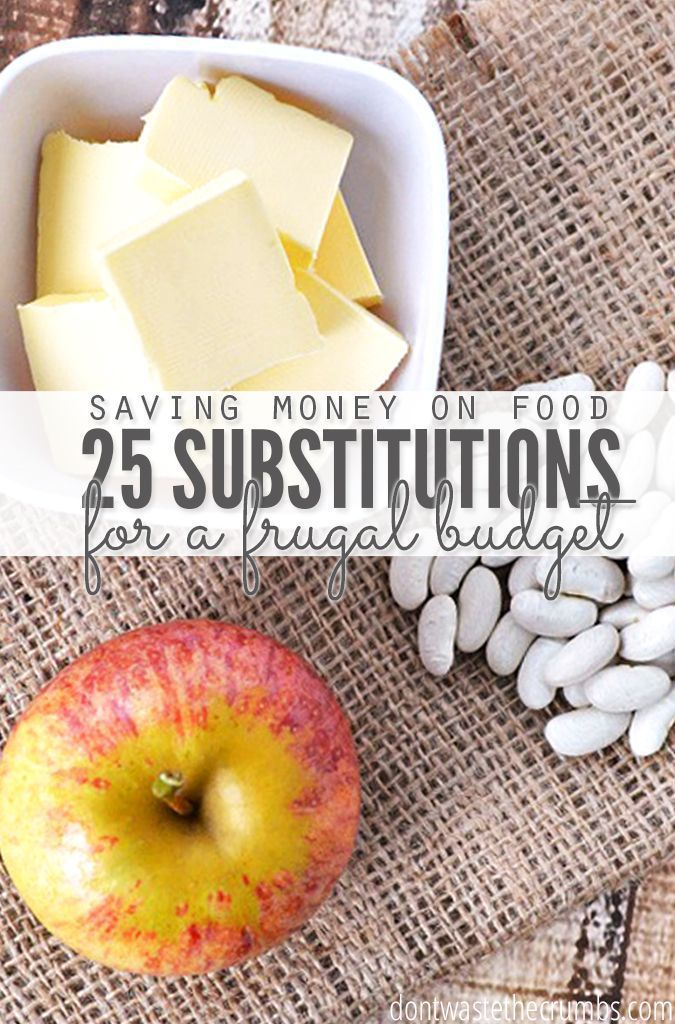 Save money on groceries by swapping out expensive ingredients for more affordable ones with this list of the top 25 frugal food substitutions.