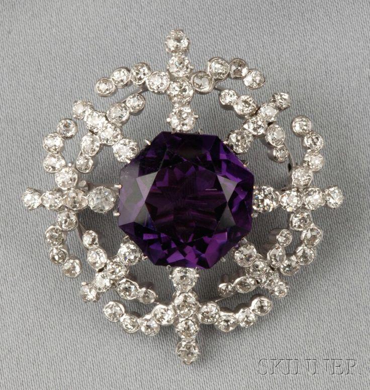 Amethyst and Diamond Brooch