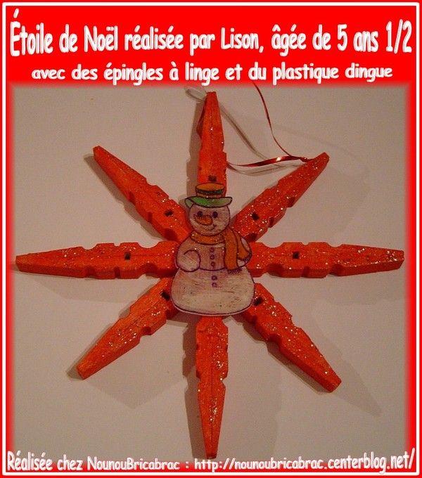 Étoile de Noël avec des épingles en bois... de Lison