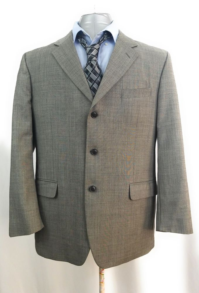 dd0bc9ddc78 Jones New York Jacket Wool Blazer Gray Sport Coat Suit Mens 3 Button Men S  44R #JonesNewYork #ThreeButton