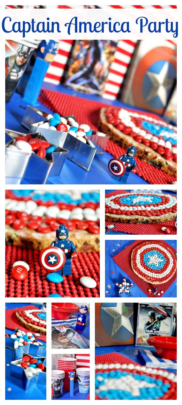 Captain America Party with the BEST Giant M&M Cookie. Totally making this cookie for Nick's bday