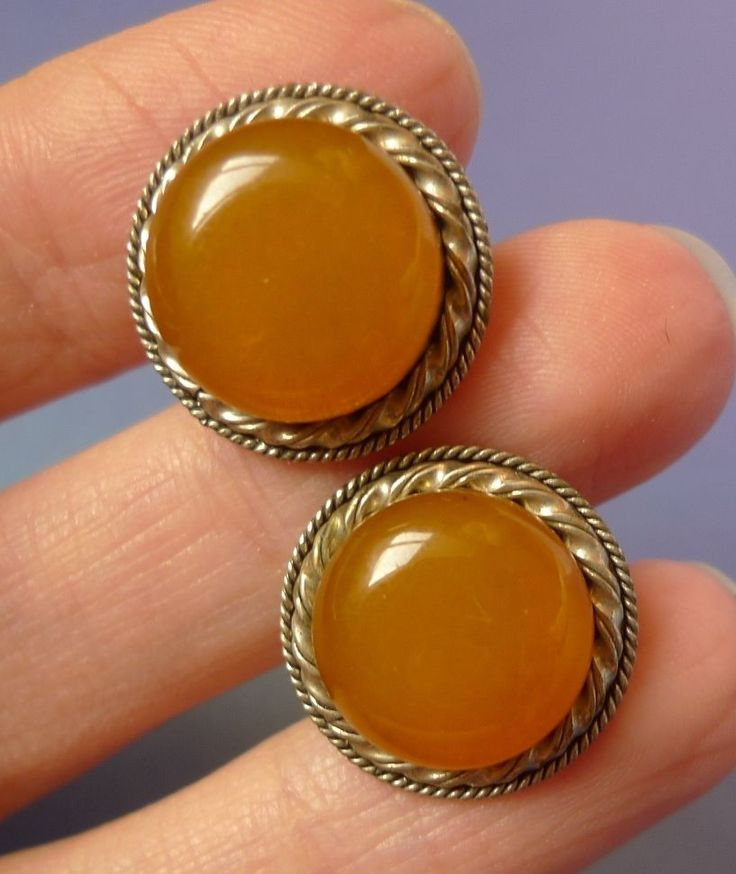 Vintage Retro USSR Latvia men jewelry Orange Honey Baltic Amber Cufflinks 10g