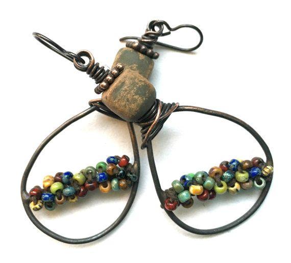 Rustic Earrings Boho Jewelry Copper Hoops Copper by SheFliesAgain