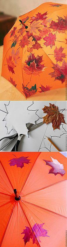 """Роспись зонта """"Осенние листья""""   Своими руками"""