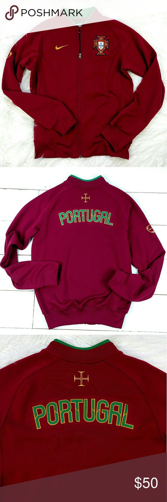"Nike Portugal Soccer Warm-Up Zip Jacket Portugal soccer warm-up full zip jacket. 20"" armpit to armpit and 24"" shoulder to hem. No trades! EUC Nike Jackets & Coats"