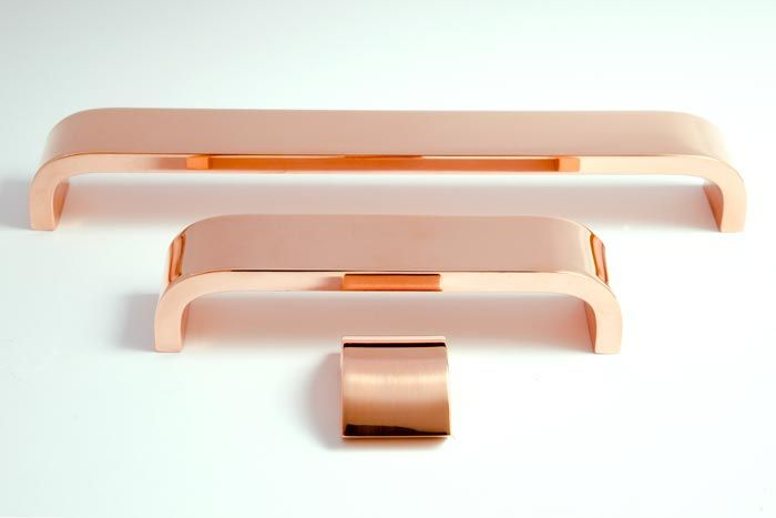 On the Kitchen Cabinets: Rose Gold sleek kitchen cabinetry hardware. #LGLimitless Design #Contest