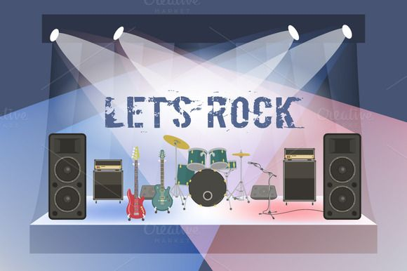 Rock Concert Stage Sound Equipment by vectorikart on Creative Market