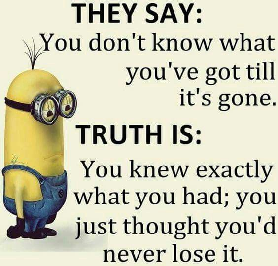 They say: You don't know what you've got till it's gone. Truth is: You knew exactly what you had; you just thought you'd never lose it. - minion