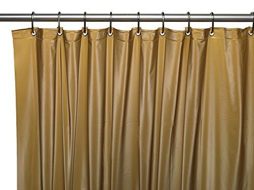 Park Avenue Deluxe Collection Park Avenue Deluxe Collection Premium 4 Gauge Vinyl Shower Curtain Liner w/ Weighted Magnets and Metal Grommets in Gold