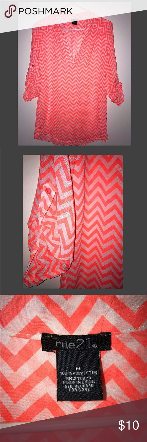 Sheer Chevron Blouse Sz M 🔥❤️Bundle and Offer, NO offer is no considered 😘 Tops Blouses
