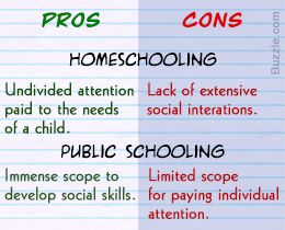 Pros and cons of homeschooling vs. public schooling