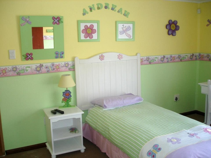 Insects toddler room  This room turned out more stunning than our client even imagined it!  We used a lemon yellow at the top and a kiwi lime at the bottom. Our paint line is draw 115cm from the floor.