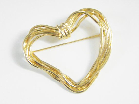 Large Modern Heart Brooch 70s by GrandVintageFinery on Etsy, $12.00