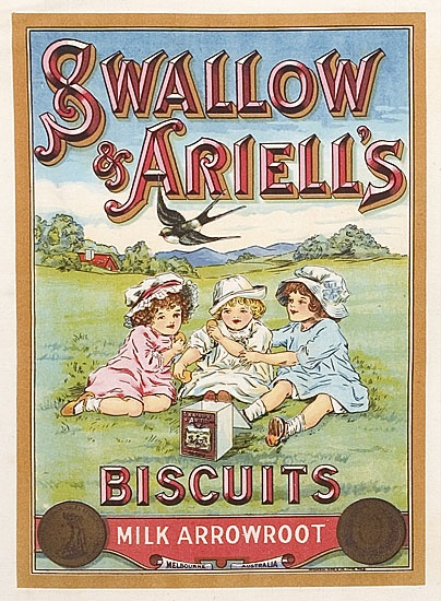"""c1890 """"SWALLOW & ARIELL'S BISCUITS ad Design"""