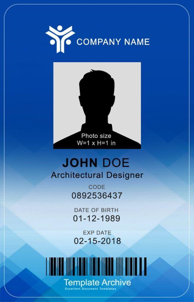 16 Id Badge Id Card Templates Free Templatearchive In 2021 Id Card Template Badge Template Card Template