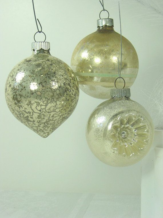 Vintage Mercury Glass Ornaments Silver Christmas Tree Set 3