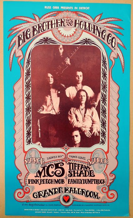 Dans Concert 1968 Janis Joplin / MC5 Detroit USA  Hier aangeboden is een zeldzame en hoge collectible poster uit de historische Grande Ballroom in Detroit USADeze show vond plaats 1-2 maart 1968 en featured Big Brother en de holding / MC5 en andere in de Grande Ballroom in Detroit / USA...Grootte is ongeveer: 13 x 22 inch. 2de afdrukken. Niet gemakkelijk te vinden.Poster kunstenaar was de late Gray Grimshaw.De poster is zorgvuldig bewaard gebleven voor meer dan 20 jaar en is in een…