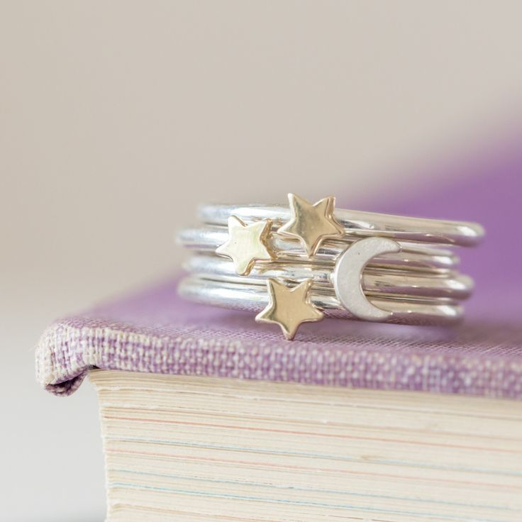 Lunar gold and silver stacking rings from Alison Moore