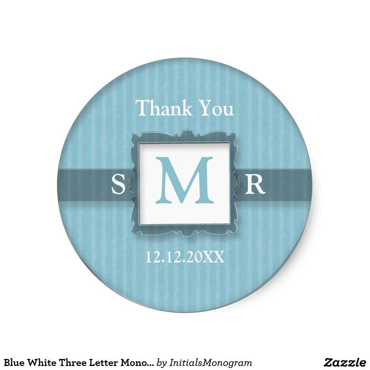 Blue white three letter monogram thank you favor classic round sticker