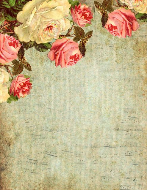 You Love the Roses... Victorian roses on a blue, grungy background ~ printable paper