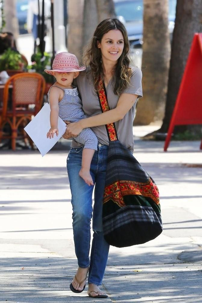 Rachel Bilson wearing Mother High Waisted Looker Crop Jeans in Skipping Stones More