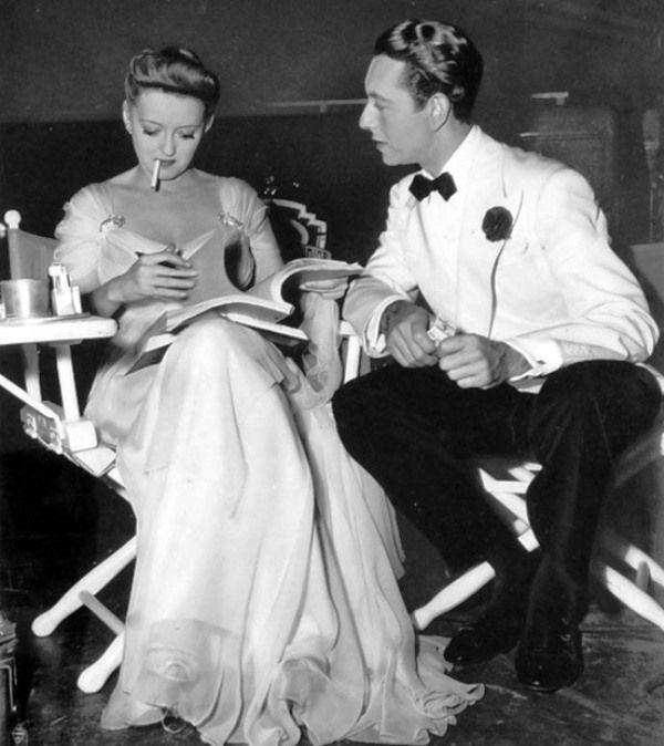 Bette Davis and Paul Henreid on the set of 'Now, Voyageur', Irving Rapper, 1942