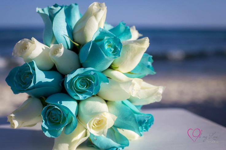 CBR455 wedding riviera Maya blue turquoise and white flowers bouquet/ ramo azul turquesa y blanco