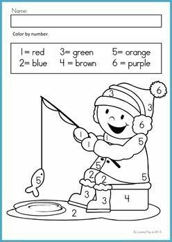 ice fishing color by number january math worksheets preschool worksheets preschool math. Black Bedroom Furniture Sets. Home Design Ideas