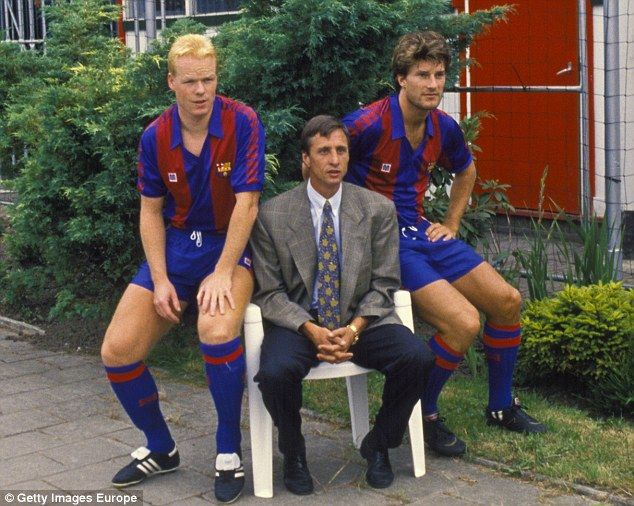 Cruyff with Ronald Koeman (left) and Michael Laudrup (right) in 1989, a year after becoming Barca's manager