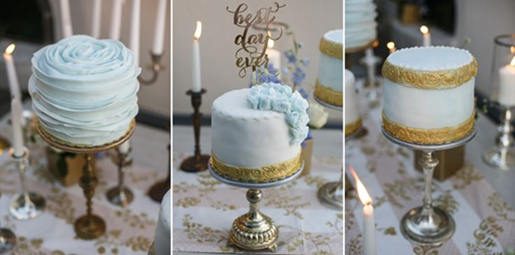 Wedding cake inspirations | light blue and gold cake | vintage cake stand | One tier wedding cake | Wedding in Greece