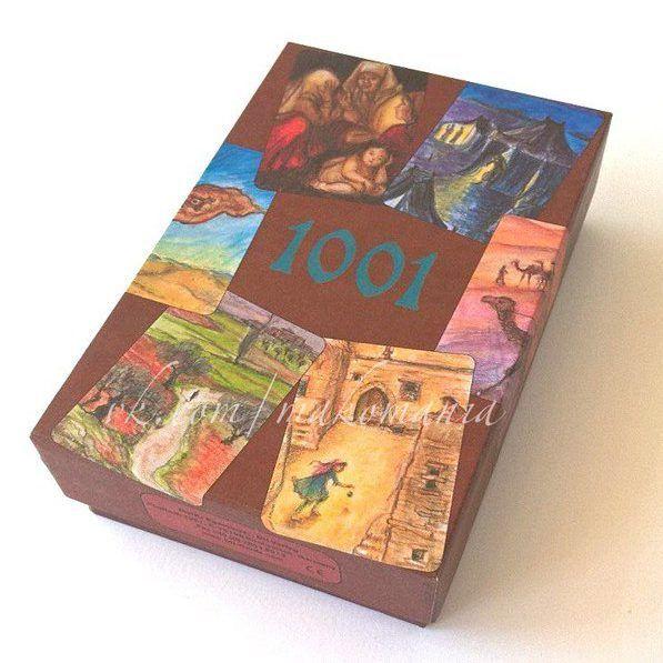 Карты «1001» приглашают нас войти в мир своего собственного воображения и обнаружить там существование самых необычных историй. Каждая карта это дверь в мир, где красавицы и чудовища, роскошные дворцы и жалкие хижины, караваны и морские путешествия, демоны и добрые джинны, спрятанные сокровища и ковры-самолеты ожидают нас. Просто возьми карту, позволь ей повести тебя за собой и история начнется.
