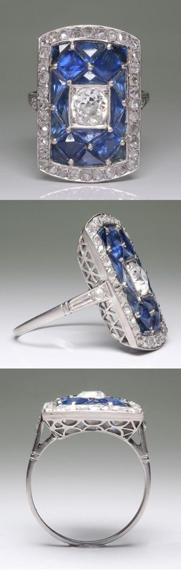 An Art Deco platinum, diamond and sapphire ring, 1920-35. #ArtDeco #ring