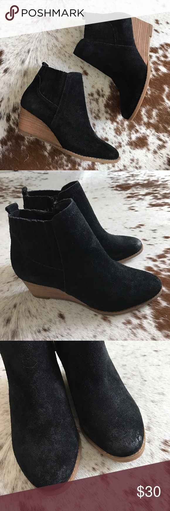 NEW Franco Sarto black suede wedge bootie 35.5 Franco Sarto Wayra wedge booties. Some of the suede looks worn but it came like this. Wooden wedge heel. Size 5.5. No box but they are brand new. Franco Sarto Shoes Ankle Boots & Booties
