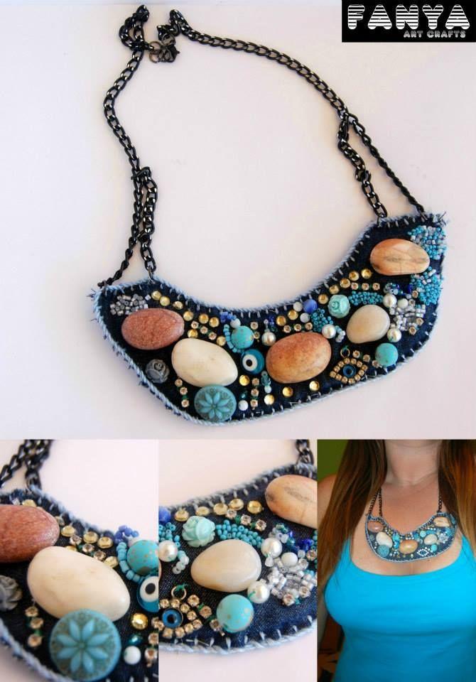 ooak bib necklace with peebles