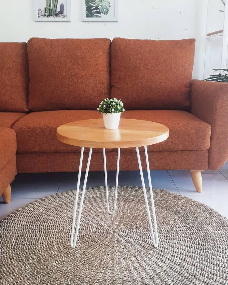 Natural table Dimensi ukuran Diameter 50 cm Tinggi 60