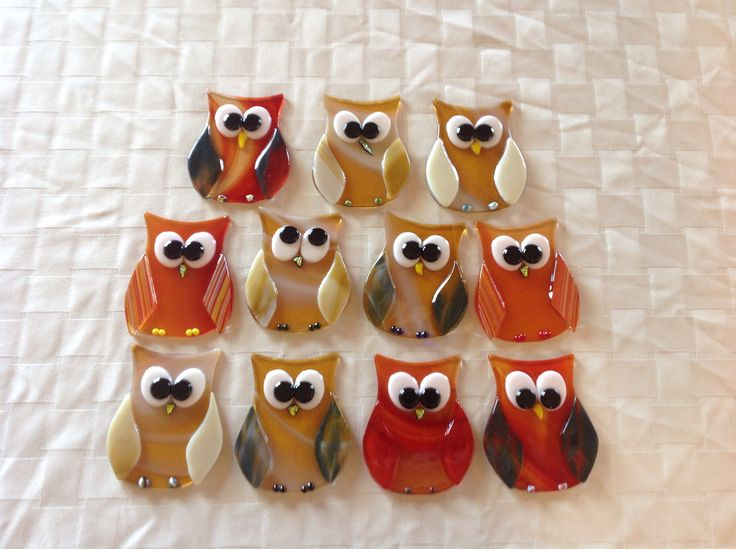 Fused glass Owls 3