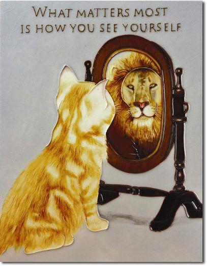 Benaya Art Ceramics Tile Orange Tabby Kitten Mirror And