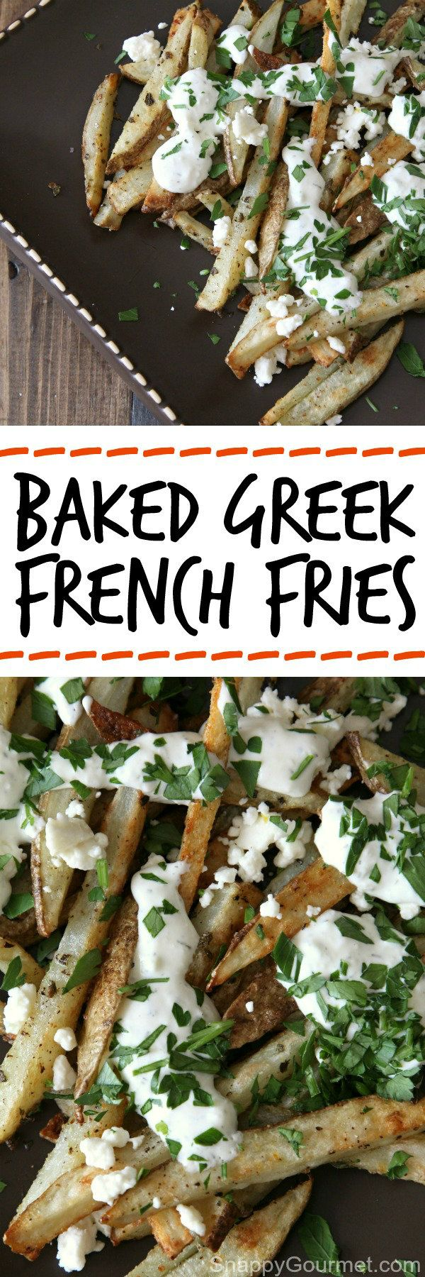 Baked Greek French Fries recipe, easy crispy homemade french fries made in the oven and topped with tzatziki and feta. Yum! SnappyGourmet.com