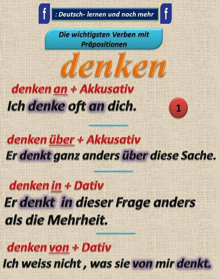 Duits - Deutsch - Präpositionen - denken - voorzetsels - Kasus - naamval