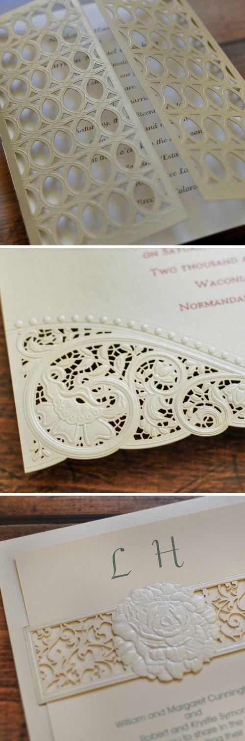Laser cut wedding invitation details from Invitations by Dawn. These details are amazing!