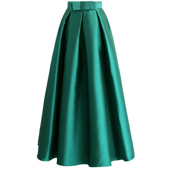 Chicwish Bowknot Pleated Full Maxi Skirt in Green ($39) ❤ liked on Polyvore featuring skirts, green, floor length skirt, long maxi skirts, green pleated skirt, long skirts and green a line skirt