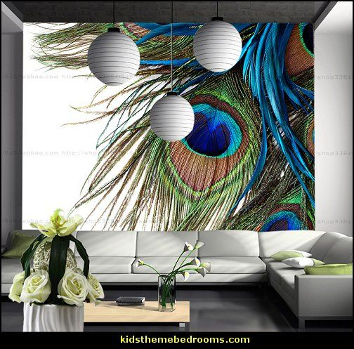 peacock walls | ... Tv+background+wall+wallpaper+mural+background+wall+peacock+feather.jpg